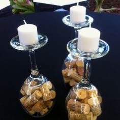 wine glass cork flower centerpieces - Google Search
