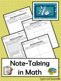 Structured note-taking template for math class and math homework - great to use with textbooks or ebooks. Grades 7-12. ($) #mathnotes #notetaking
