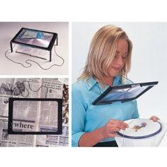 Giant Hands free Magnifier:  £7.97 ideal for those who enjoy handcrafts, embroidery, sewing, knitting and any other hobbies where precision is needed perfect for reading especially for maps and directories or for those who are visually impaired. The magnifier is lightweight and easily portable with a distortion free lens to ensure you magnificent close-up detail and clarity. The magnifier can be held in your hand, hang it around your neck, or fold out the integral feet for free-standing use.