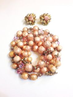 ON SALE  Vintage Hobe Pink  Beaded Three by GracesVintageGarden