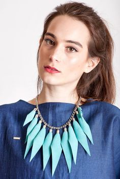 Wild child necklace in turquoise / silver features leather spikes with galvanized brass and metal components. Edgy Look, Edgy Style, Punk Subculture, Kids Necklace, Wild Child, Leather Necklace, Slow Fashion, Necklace Designs, Everyday Outfits
