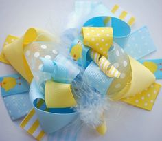 boutique EASTER CHICK funky fun hair bow clip by andjane on Etsy, $12.99