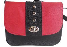 Bolso Bandolera Liz en color Negro y Rojo con Tachuelas, Tamaño Mediano