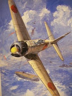 Mitsubishi Zero by Shigeo Koike Ww2 Aircraft, Aircraft Carrier, Military Aircraft, The Art Of Flight, In The Air Tonight, Imperial Japanese Navy, War Thunder, Airplane Art, Ww2 Planes