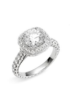 Jack Kelége 'Romance' Cushion Set Diamond Semi Mount Ring available at #Nordstromwedding