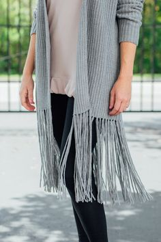 The fringe detail on this cardigan is so much fun! Would you choose it in black or heather gray?