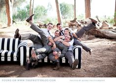 Groomsmen pic ideas, rented black & white couch