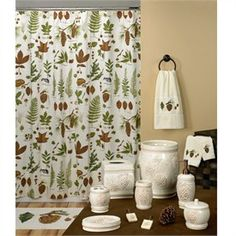 Floral Bath Accessories - Discount Floral Bathroom Accessory Sets - Northwoods Fabric Shower Curtain & Bathroom Accessories by Creative Bath
