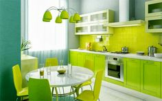 Mesmerizing Lime Green Kitchen Design Ideas With Cool Round Dining Furniture Design Also Minimalist Kitchen Cabinets And Pretty Hanging Light Design Mesmerizing Modern Kitchen Ideas for Comfortable Cooking Area Kitchen Lime Green Kitchen, Green Kitchen Cabinets, Kitchen Paint, New Kitchen, Kitchen Dining, Kitchen Ideas, Kitchen White, Stylish Kitchen, Funky Kitchen