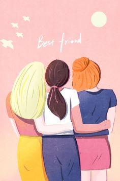 Friendship Paintings, Friendship Canvas, Friendship Images, Girl Friendship, Friendship Poems, Best Friend Drawings, Bff Drawings, Girl Drawing Sketches, Hug Illustration