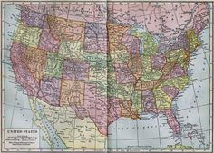 United States Map 1906 Vintage Edwardian by SurrenderDorothy