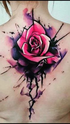 Watercolor/splatter/rose