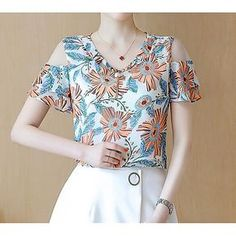 Women's Casual/Daily Simple Blouse,Print Round Neck Short Sleeves Polyester 2017 - R$34.05