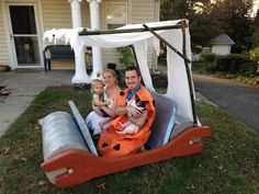 We borrowed some Flintstones costumes for Halloween last year and i felt we weren& really contributing to the holiday. So i made this vehicle and was super. Flintstones Halloween Ideas, Flintstones Costume, Halloween Kostüm, Halloween Costumes, Cozy Coupe Makeover, Military Party, Backyard Toys, Boat Parade, Trunk Or Treat