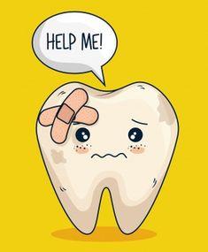 Tooth with aid care and hygiene treatmen. Dentist Cartoon, Tooth Cartoon, Teeth Dentist, Oral Health, Dental Health, Dental Care, Humor Dental, Dental Facts, Dental Wallpaper