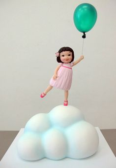 Margie Carter: little girl with balloon cake - incredible detail on the cloud and how unbelievably cute! Fondant Figures, Fondant Cakes, Cupcake Cakes, Gravity Defying Cake, Gravity Cake, Its A Girl Balloons, Bolo Cake, Balloon Cake, Edible Creations