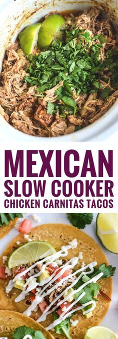 Seasoned with cumin, garlic, chili powder, lime juice, and cilantro, these Mexican Slow Cooker Chicken Carnitas Tacos are the perfect dinner for any night of the week. (gluten free, paleo friendly) Crockpot Cilantro Lime Chicken, Slow Cook Chicken Tacos, Chicken For Tacos, Chicken Lettuce Cups, Crock Pot Tacos, Chicken Meals, Baked Chicken, Mexican Seasoning For Chicken, Mexican Chicken Marinade