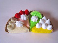 Felt food fruit pie set  banana cream key lime by CreationByM, $38.00