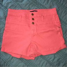 Coral high waisted shorts size 10 Washed once but never worn. Size 10. If you'd like to bundle anything let me know and I can combine them for a better deal :) Shorts