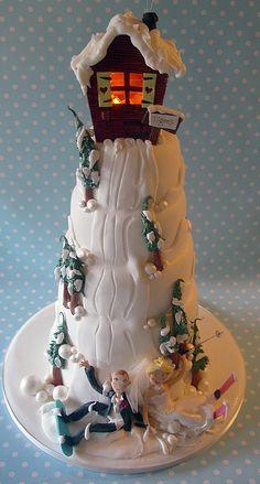 Snowboarding and skiing #Winter wedding #cake cakewrecks