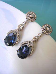 Blue Crystal Earrings, Bridal Earrings, Sapphire Earrings by CrystalPearlJewelry on Etsy, $60