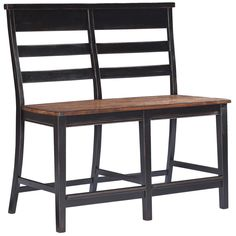Add a dash of style to your dining arrangement with the two-tone black and honey finish of this rustic bench. This enchanting bench features ladder chair backs and antique bronze footrests for added style and comfort.