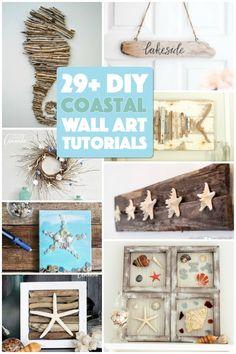 29 Beach Crafts: Coastal DIY Wall Art - Crafts by Amanda Wall Art beach wall art Wall Art Crafts, Diy Wall Art, Decor Crafts, Diy Crafts, Seashell Projects, Driftwood Crafts, Seashell Crafts, Crafts With Seashells, Coastal Wall Art