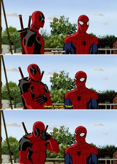 Funny pictures about Deadpool. Oh, and cool pics about Deadpool. Also, Deadpool. Marvel Funny, Marvel Memes, Marvel Dc Comics, Marvel Avengers, Deadpool Y Spiderman, Batman Y Superman, Deadpool Funny, Ultimate Spider Man Deadpool, Female Spiderman