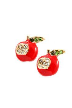 Crystal Apple Earrings   Emma Stine Jewelry Earrings