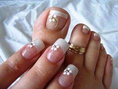 Wedding Nails -fingers and toes Fingernail Designs, Toe Nail Designs, Nail Polish Designs, Pedicure Designs, Manicure E Pedicure, Mani Pedi, Fabulous Nails, Gorgeous Nails, Bridal Nails