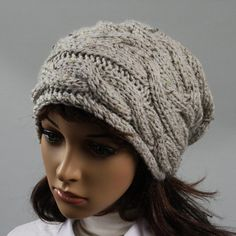 Hand knitted oversized slouchy beanie for women. A by WoolyThinker, $32.00