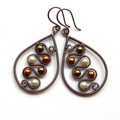 copper and pearl earrings by izabako, via flickr
