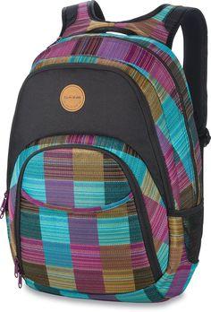 Dakine Women's Eve Backpack, Libby, 28L. Fits most 15 inch laptops. Adjustable sternum strap. Fleece lined sunglass pocket. Organizer pocket. Insulated cooler pocket. Mesh side pockets.