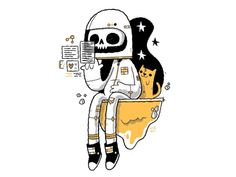 Space Skull and his Feline Friend