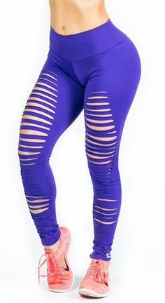 """Be Sexy, Be Ripped"" Brazilian Leggings - Purple and Black!"