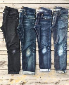 r/rawdenim — Soonami's jeans for the last years… Torn Jeans, Black Denim Jeans, Raw Denim, Jeans And Boots, Nudie Jeans, Jeans Pants, Denim Ideas, Denim Trends, Edwin Jeans
