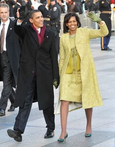 January 2009--- For Inauguration Day, Mrs. Obama looked optimistically chic in an Isabel Toledo lemongrass dress and coat.   - HarpersBAZAAR.com