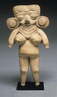 Standing Female Figurine with Large Earspools  Michoacan culture  Michoacan, Mexico  Late Preclassic period, 300 B.C.-A.D. 250 slipped and painted earthenware  Dimension: 5.88in x 0in x 0in 14.935cm x 0cm x 0cm   via > sniteartmuseum.nd.edu