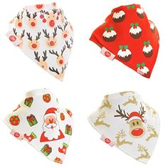 Zippy Fun Christmas Baby and Toddler Bandana Bib - Absorbent 100% Cotton Front Drool Bibs with Adjustable Snaps (4 Pack Gift Set) Unisex Red and White Christmas * Additional details @