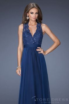 2014 Prom Dresses A Line Floor Length V Neck Chiffon And Lace Dark Navy Color at Storedress.com