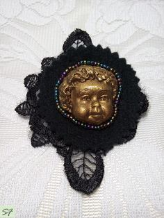 Brooch Angel, Face Head Pin Brooch, Angel Polymer Clay, Figural, Black Beaded Lace Brooch, Beadwork, Felt Brooch, Gift Her Wife Mom by Galabeadjewelery on Etsy