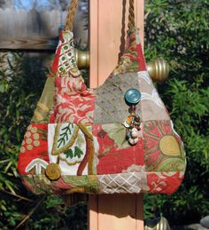 Bohemian Pieced Crewel Embroidery Bag with Vintage Buttons