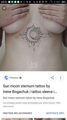 Grace Tattoos, Sun Tattoos, Dope Tattoos, Tattos, Small Tattoos, Moon Star Tattoo, Moon Tattoo Designs, Sternum Tattoo, Little Tattoos