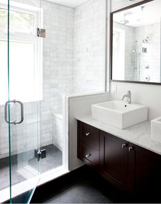 small bathroom tips: * clear glass shower * shower tile up to the ceiling * same floor tile inside and outside the shower House Bathroom, Bathroom Inspiration, Bathrooms Remodel, Contemporary Bathroom, Small Master Bathroom, Bathroom Design, Marble Showers, Bathroom Remodel Master, White Marble Shower