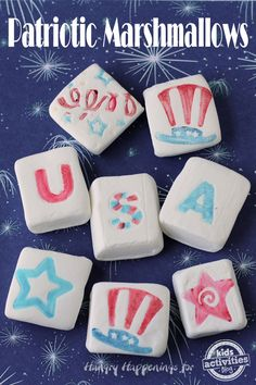 4th of July Marshmallows... Such a fun and yummy activity for the kiddos!!!! #fourthofjuly