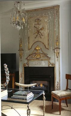 Painted and gilded fireplace featured in Big, Easy Style book by Bryan Batt(fabulous book! Fireplace Mantle, Fireplace Design, Fireplace Facade, Trumeau, Piece A Vivre, French Decor, Beautiful Interiors, Interiores Design, Home Design
