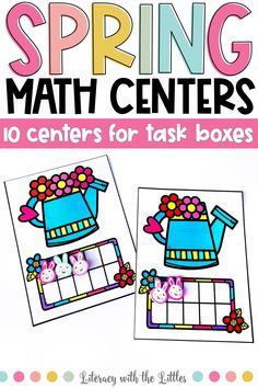 These spring themed math centers fit perfectly into photo storage boxes for wonderful grab and go centers. There are 10 centers that work on a variety of math skills so that you can pick and choose centers to differentiate to meet the needs of your students. These centers are hands-on and interactive. Each center comes in full color and ink saving black and white. These are perfect for math centers, morning tubs, or early finishers.  Designed for Kindergarten and first grade math standards.