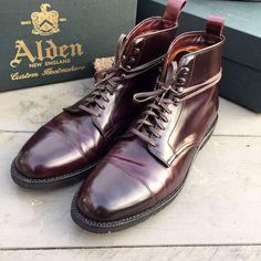 Alden color 8 shell cordovan cap toe boots. | eBay