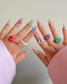Fimo Ring, Polymer Clay Ring, Funky Nails, Cute Nails, Pretty Nails, Manicure, Gel Nails, Nail Polish, Nail Swag