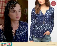 Jenna's blue and white printed shirt on Awkward.  Outfit details: http://wornontv.net/15948/